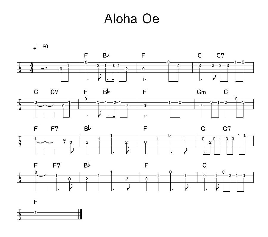 夏威夷《骊歌》(Aloha Oe)尤克里里谱1