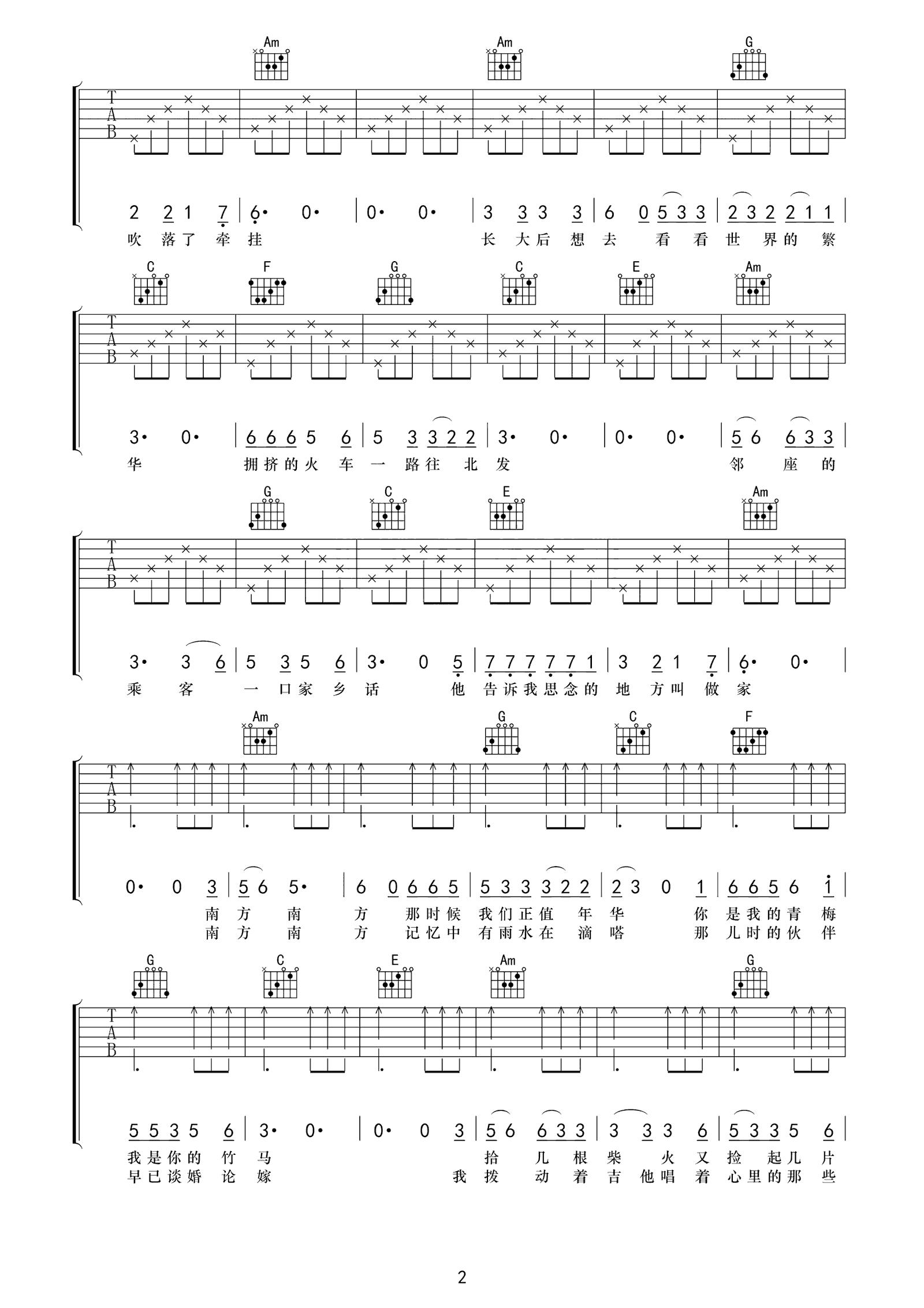 张小九《南方南方》吉他谱C调高清弹唱谱