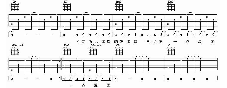 张震岳演唱版《爱我别走》吉他谱