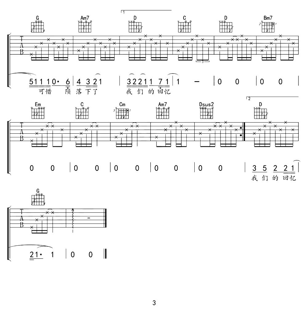陈翔《烟火》吉他谱G调高清吉他弹唱无水印版
